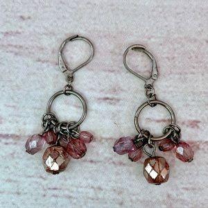 Jewelry - Purple/Silver Beaded Lever Back Drop Earrings